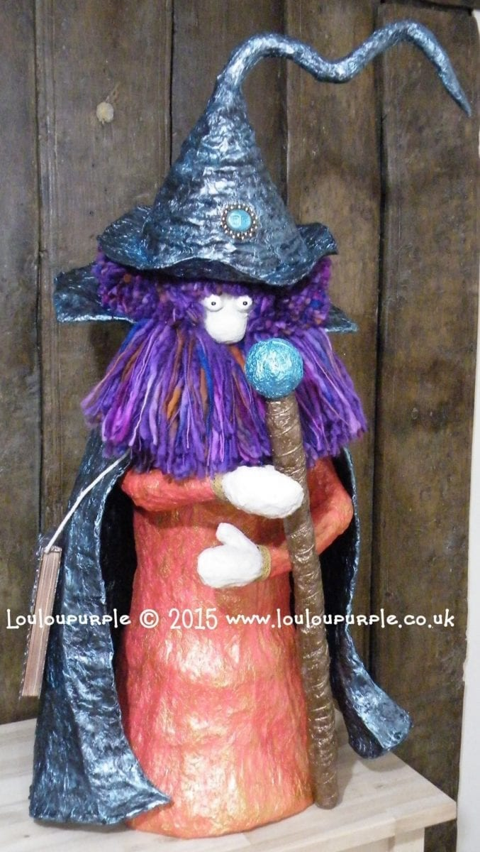 How I Made My Mixed Media, Paper Mache Wizard Window Display At Louloupurple. Winston The Great.