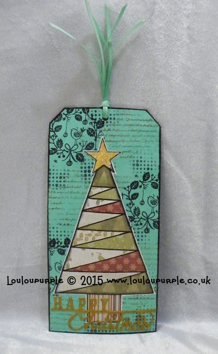 Mixed Media, Christmas Tree Tag. Using Distress Paint.
