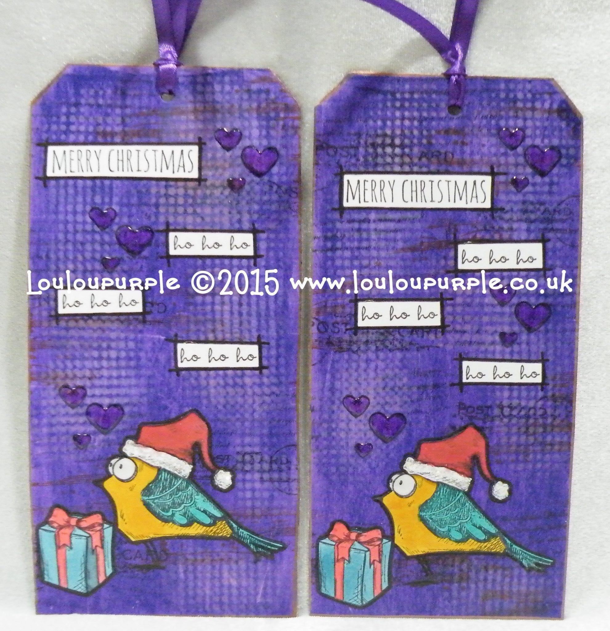 Mixed Media. Christmas Tags & Birthday Cards. Using Crazy Birds Stamps.