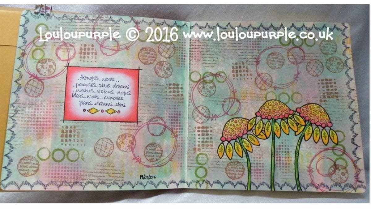 Mixed Media, Art Journal Page. Using PaperArtsy Stamps.