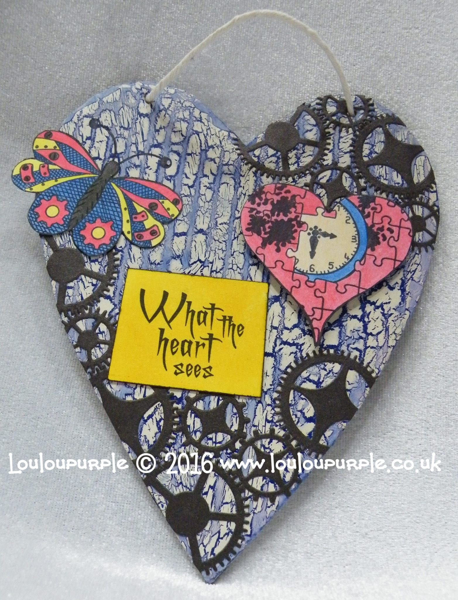 Mixed Media Heart, Using PaperArtsy Stamps & Crackle Glaze.