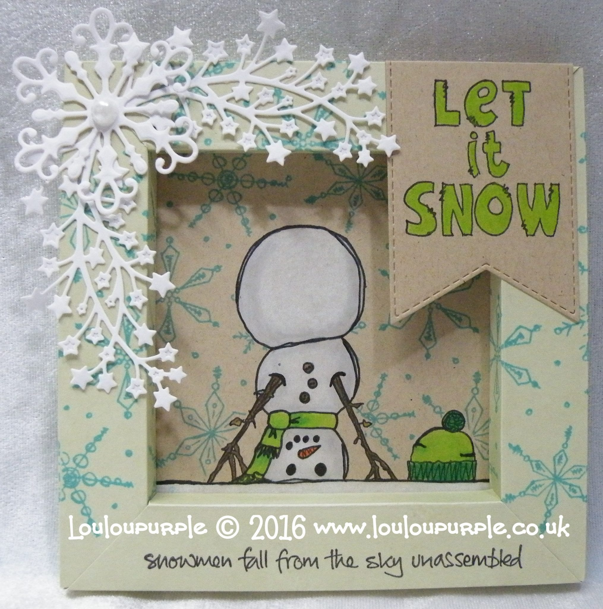 How To Make A Snowman Shadow Box, Using PaperArtsy Stamps.