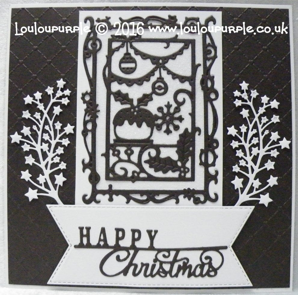 Christmas card using Creative Expressions and Sue Wilson dies.