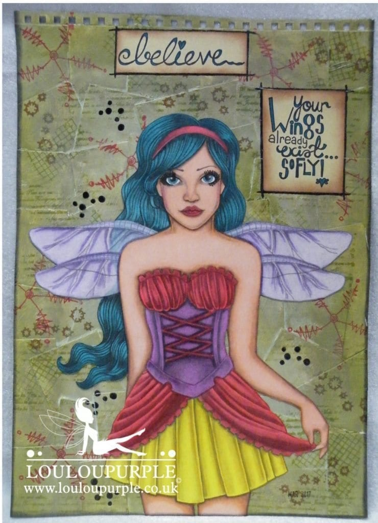 Mixed Media Art Journal Page Fairy